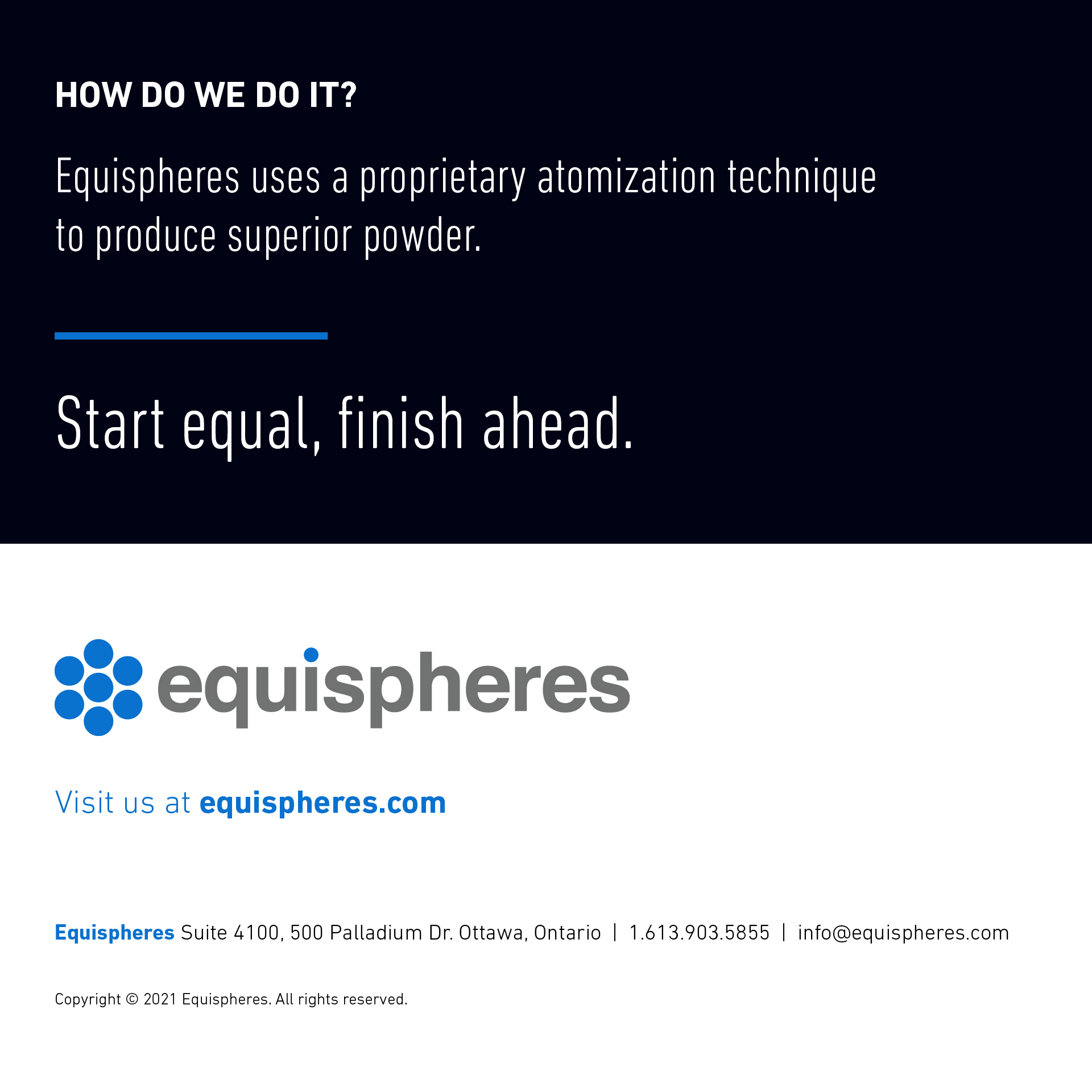 Equispheres uses a proprietary atomization technique to produce superior metal powder for additive manufacturing.