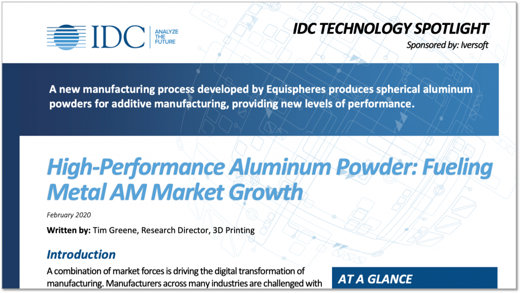 Aluminum Powder Additive Manufacturing Technology Spotlight Preview Snapshot